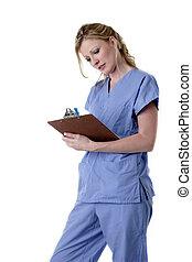 enfermeira, em, azul, holdin