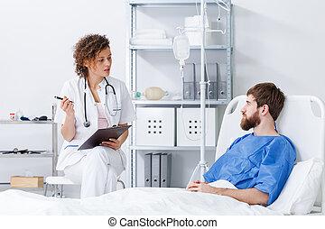 enfermeira, entrevistar, paciente, hospitalar