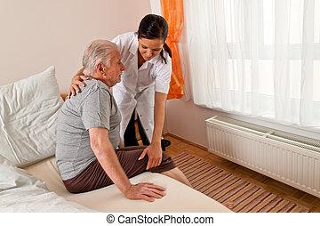 enfermeira, envelhecido, cuidado