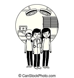 enfermeira, equipe funcionários médica, local trabalho, doutor