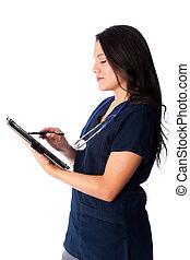 enfermeira, escrita, digital, mapa paciente