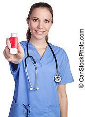 enfermeira, inalador, segurando