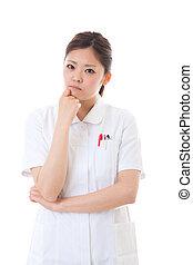 enfermeira, incomodado, jovem
