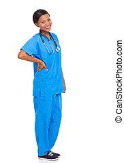 enfermeira, isolado, africano feminino