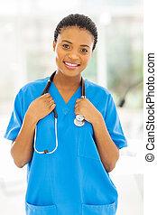 enfermeira, jovem, africano feminino