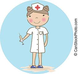 enfermeira, jovem