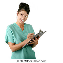 enfermeira, jovem, femininas