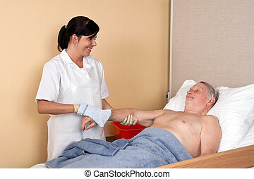 enfermeira, lavagens, um, paciente