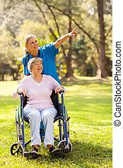 enfermeira, levando, incapacitado, idoso, paciente, para, um, passeio