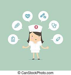 enfermeira, médico, icons.