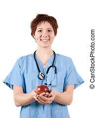 enfermeira, maçã