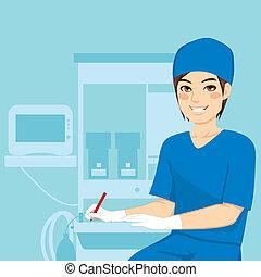enfermeira, macho, trabalhando