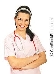 enfermeira, mulher, amigável