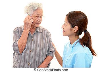 enfermeira, mulher, idoso