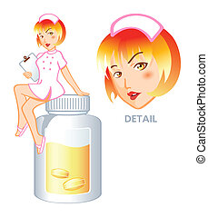 enfermeira, pílula, fada
