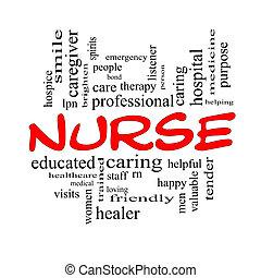enfermeira, palavra, nuvem, conceito, em, vermelho, bonés