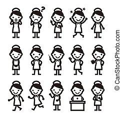 enfermeira, posar, ícone