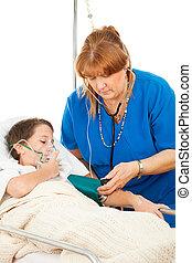 enfermeira, preocupando, criança doente