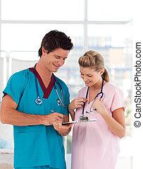 enfermeira, retrato, hospitalar, atraente, doutor