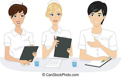 enfermeira, reunião