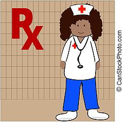 enfermeira, saída, capaz, prescrições, dar