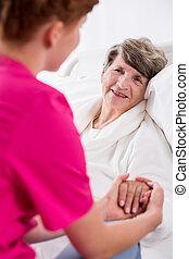 enfermeira, suportar, paciente