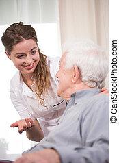 enfermeira, trabalho, jovem