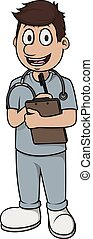 enfermeira, vetorial, caricatura, homem