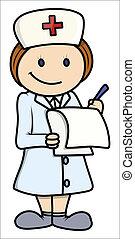 enfermeira, vetorial, -, caricatura, ilustração