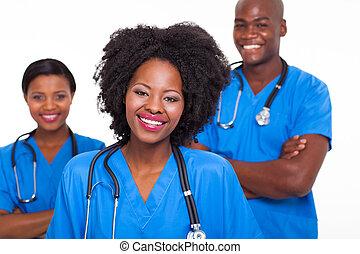 enfermeiras, americano afro, grupo