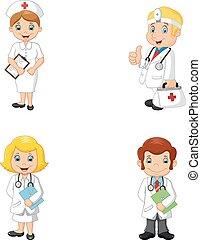 enfermeiras, caricatura, doutores