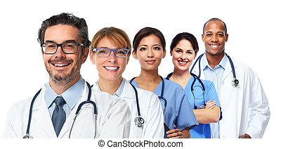 enfermeiras, grupo, doutores