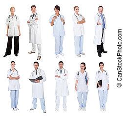 enfermeiras, médico, trabalhadores, doutores