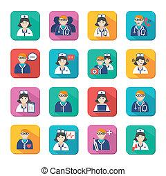 enfermeiras, medicina, doutores, jogo, ícones