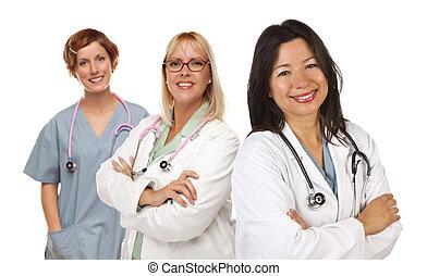 enfermeiras, três, femininas, doutores, branca, ou