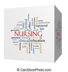 enfermería, 3d, cubo, palabra, nube, concepto