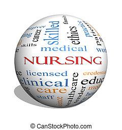 enfermería, 3d, esfera, palabra, nube, concepto