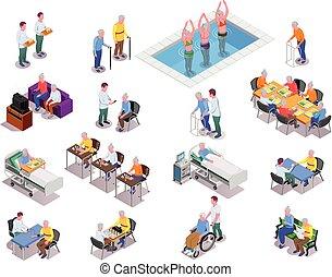enfermería, conjunto, isométrico, hogar, iconos
