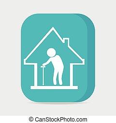 enfermería, ilustración, botón, vector, hogar, icono