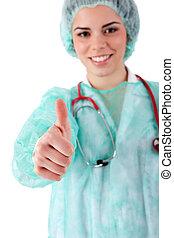 enfermera, actuación, arriba, pulgares