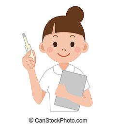 enfermera, clínico, tenido, termómetro