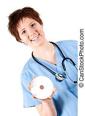 enfermera, con, dvd