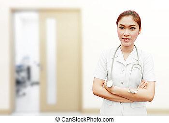 enfermera, con, estetoscopio, en, hospital