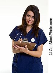 enfermera, con, gráfico