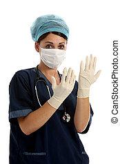 enfermera, con, guantes