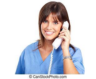 enfermera, con, teléfono