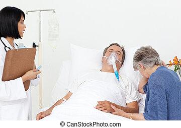 enfermera, con, un, pareja, en, un, hospital