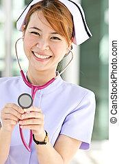 enfermera, concepto, estetoscopio