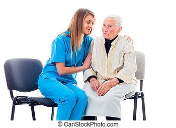 enfermera, consolar, paciente, preocupado