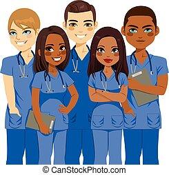 enfermera, diversidad, equipo